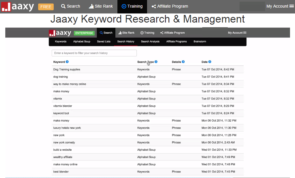 Jaaxy saved search